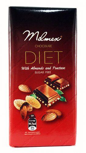 Диетичен шоколад с бадеми и фруктоза  100 гр. DIET