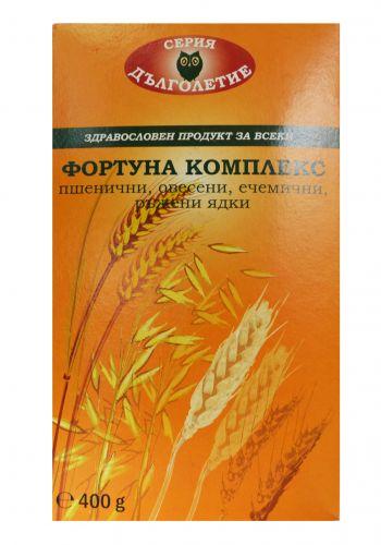 ФОРТУНА КОМПЛЕКС овесени, ръжени, ечемичени и пшенични ядки 400 гр. - Серия Дълголетие